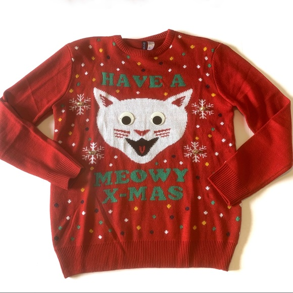 Christmas Ugly Sweater.Have A Meowy Christmas Ugly Sweater Cat Hm
